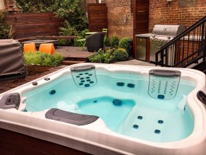 Pristine Hot Tubs: When maintained properly, quality hot tubs like the Bullfrog Spa SHOWN at the top of this page can remain clean and in superb operating condition for many years.